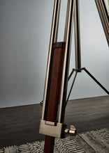 Load image into Gallery viewer, Loft - Tripod Floor Lamp in Nickel & Wood with Textured Linen Shade