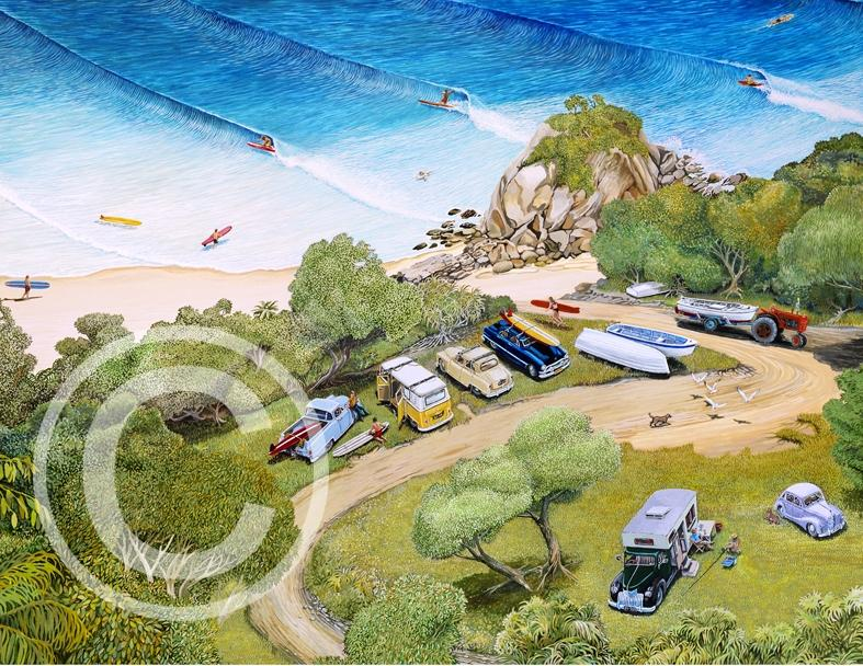 Gary Birdsall Surf Art - The Pass At Byron Bay - 11x14