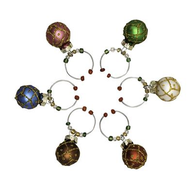 Avanti Christmas Wine Charms - Baubles - Set of 6
