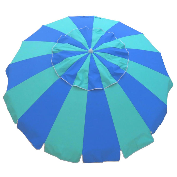 Carnivale Beach Umbrella 240cm (8 Foot) - Royal & Turquoise - Cronulla Living