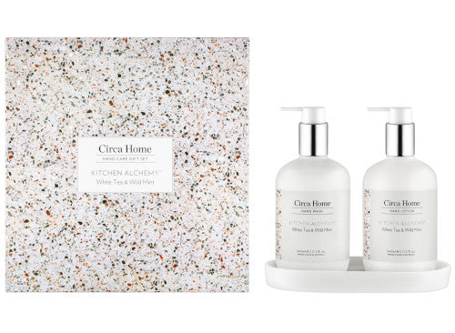 circa home kitchen alchemy range white tea and wild mint hand cream and hand wash boxed gift set