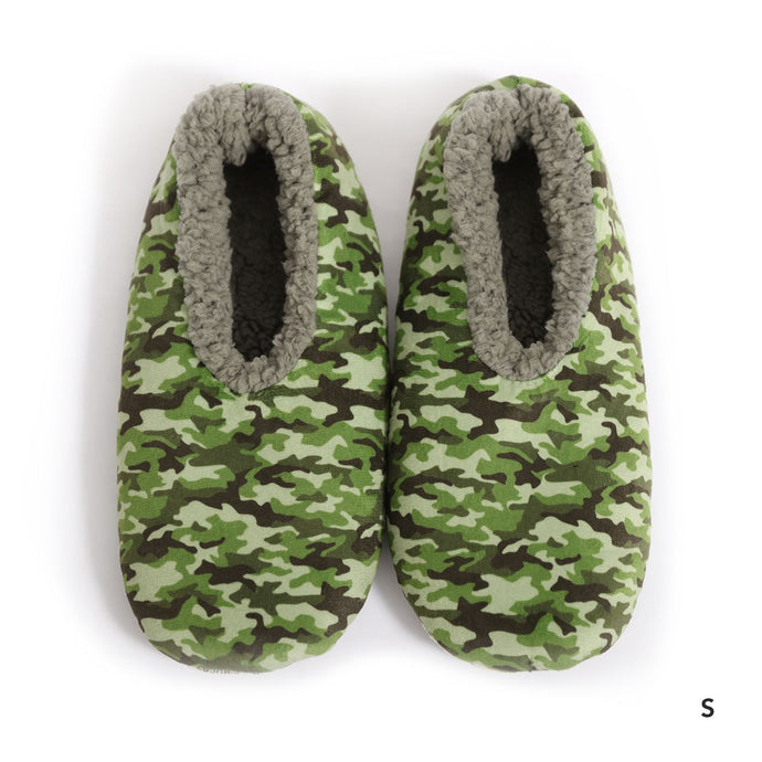 Sploshies - Men's Velvet Green Camo Non Slip Soft Slippers