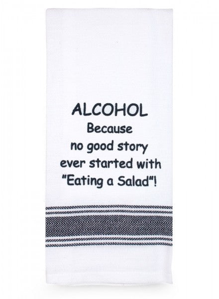 Tea Towel - Alcohol, No Good Story - Cronulla Living