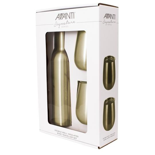 Avanti Double Wall Insulated Wine Traveller Set - Champagne - Cronulla Living