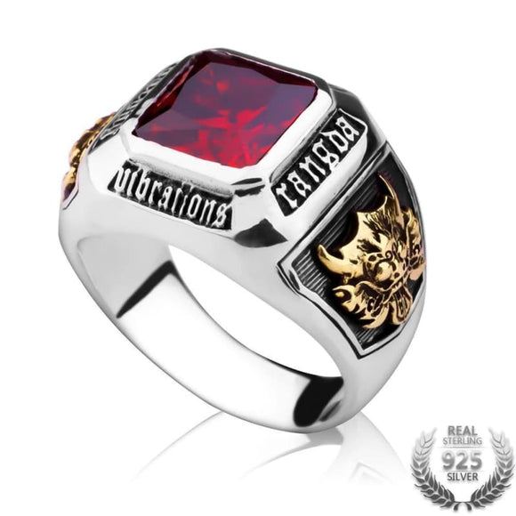 Bague Argent Rubis Homme | Steampunk Store