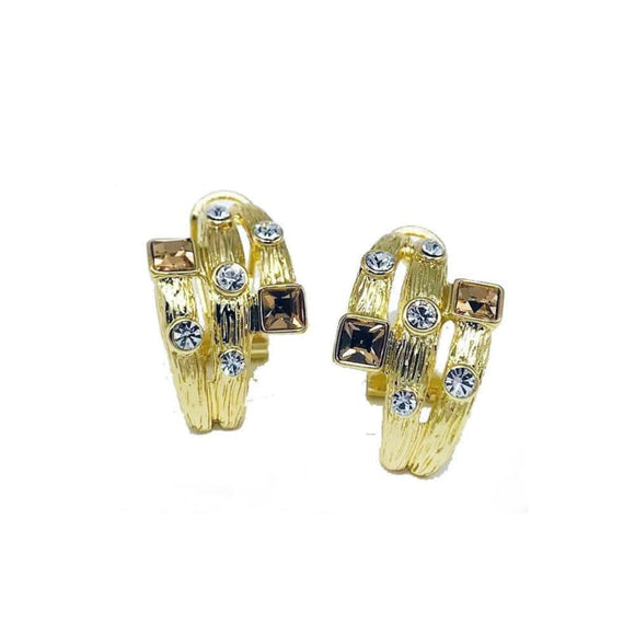 Boucles d Oreilles Strass Or | Steampunk Store