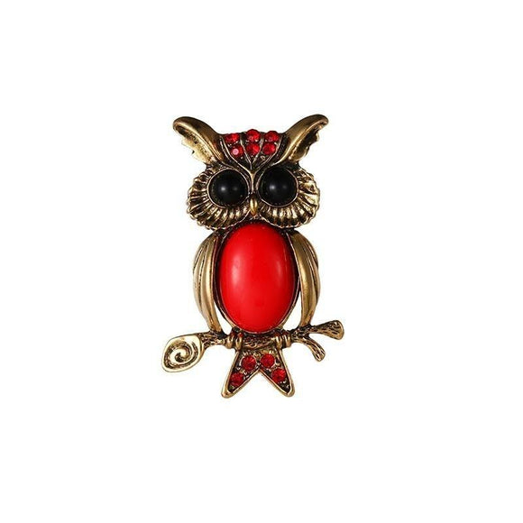 Broche Hibou Rouge