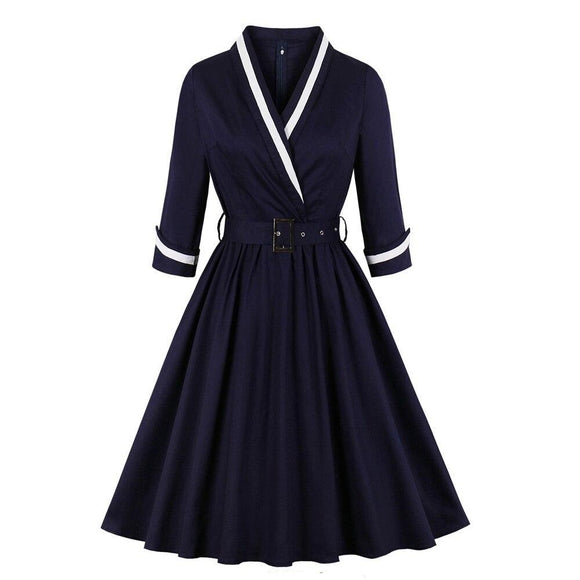 Robe Pin Up Bleu Marine