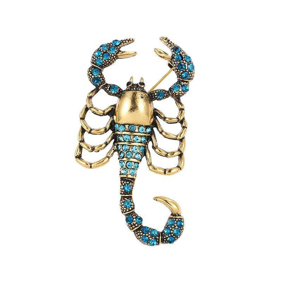 Broche Steampunk <br> Scorpion Bleuté