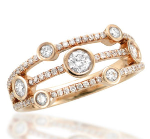 Rose Gold Diamond Scatter Ring with Pave Set Bars