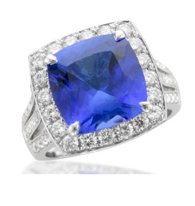 Triple Split Shank Cushion Tanzanite Halo Ring