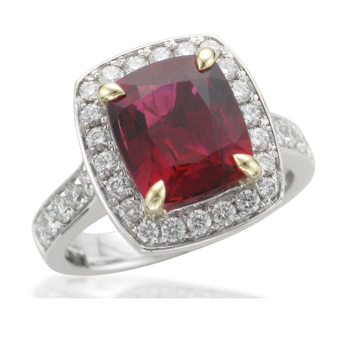 Cushion Cut Rubelite Halo Ring