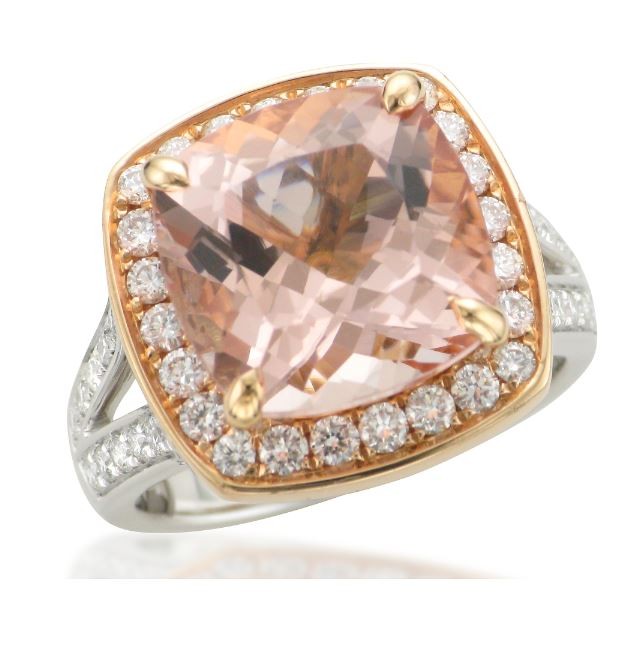 Morganite Split Shank Halo Ring