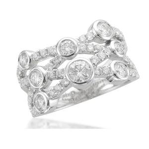 4 Row Crossover Diamond Scatter Ring