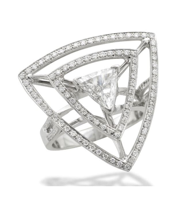 Trilliant Cut Spiders Web Ring