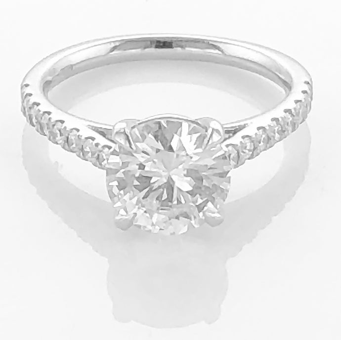 Platinum Engagement Ring - diamond set shoulders