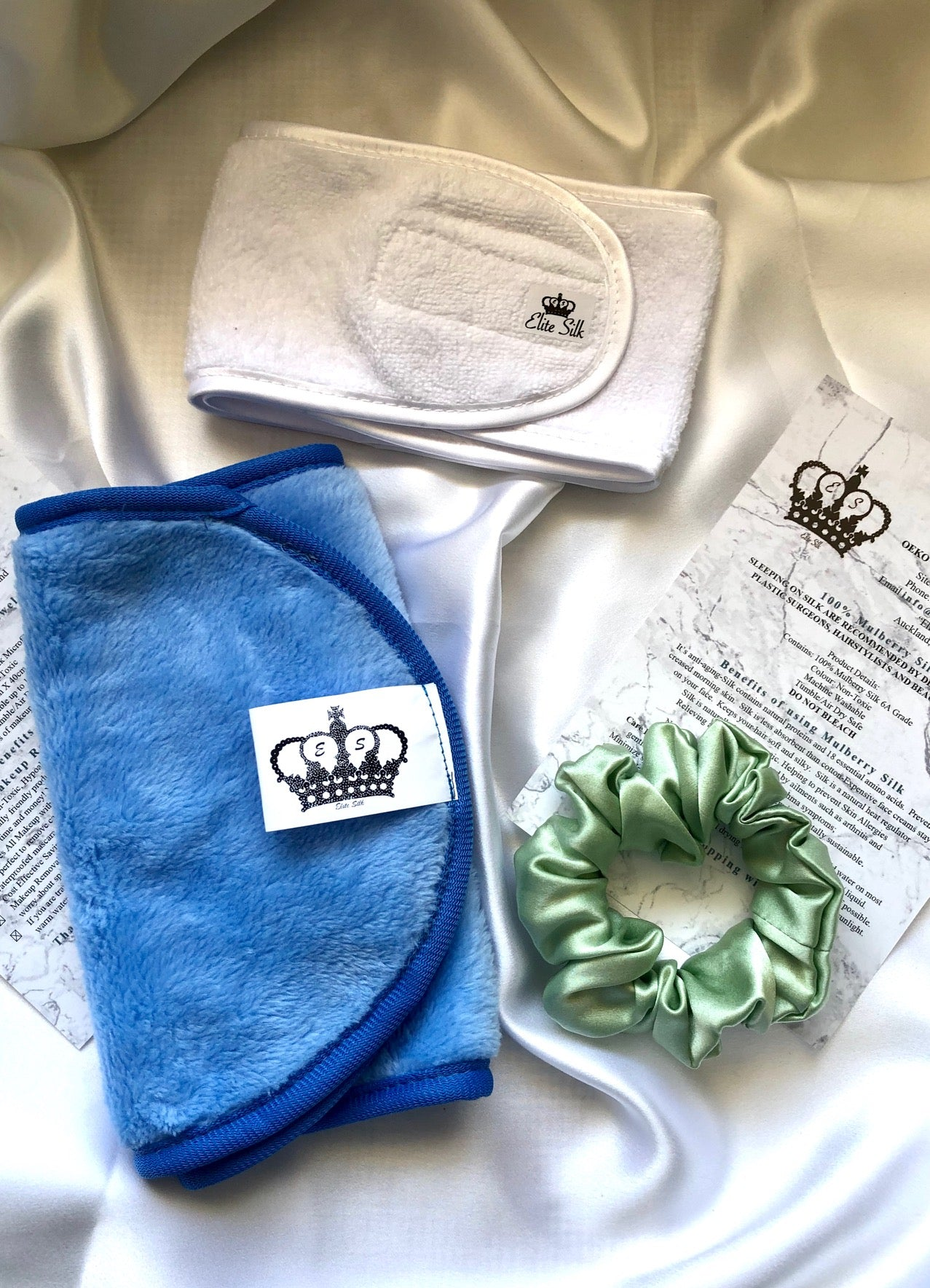 Dawn Skincare Minnie Pack - Baby Blue makeup removal towel, white headband, mint green scrunchie  from Elite Silk Luxury