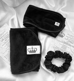 Dusk Skincare Minnie Pack - Black makeup removal towel, headband, scrunchie  from Elite Silk Luxury