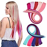 Colorful Straight Hair Extensions Clip Pieces
