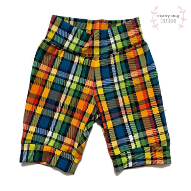 Rainbow Plaid Bummies/Shorties/Harem Shorts