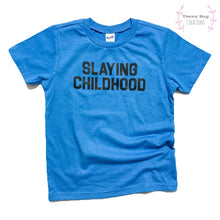 Load image into Gallery viewer, RTS Blue Slaying Childhood Kid Tee