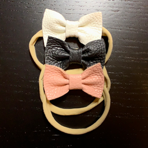 Leather bows on headband (Black, White or Pink)