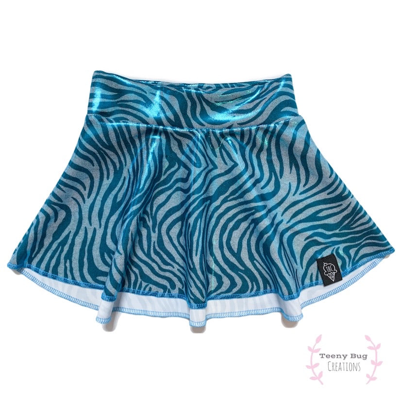 Blue Zebra Skater Skirt