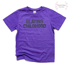 Load image into Gallery viewer, RTS Purple Slaying Childhood Kid Tee