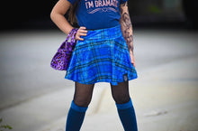 Load image into Gallery viewer, Blue Plaid Skater Skirt