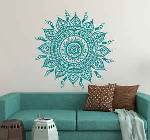 Wall Decal Stickers - Yoga Sun Mandala Flower Ornament Moroccan