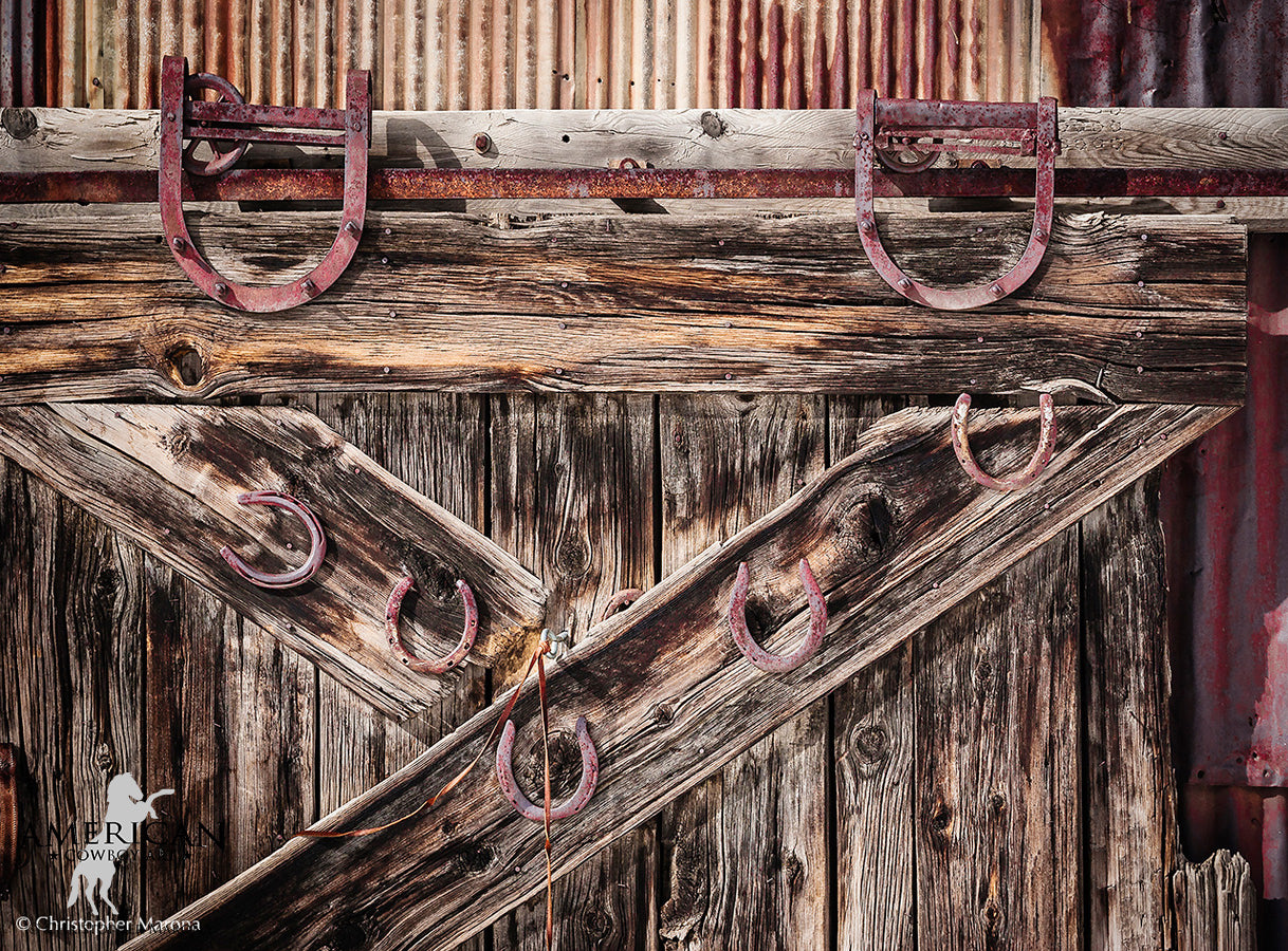 A Sign of the Time - Weathered Barn Door - American Cowboy Art
