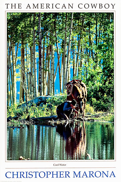 Cool Water Lithograph - American Cowboy Art