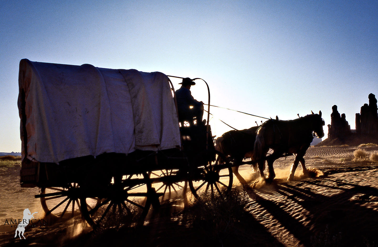 Wagon in the Sand - American Cowboy Art