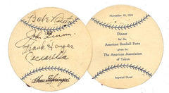 Babe Ruth Signed Baseball Menu