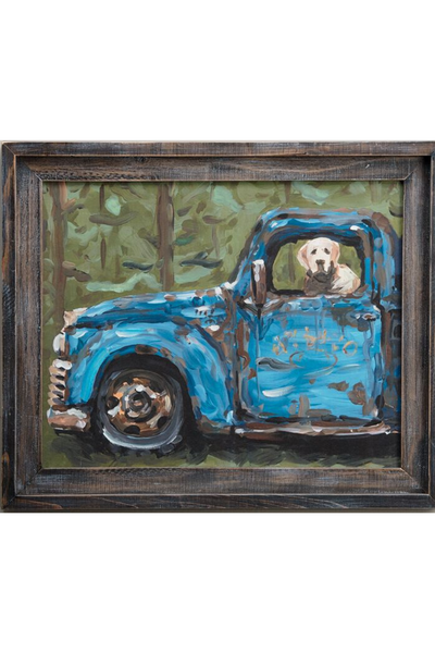 Dog In Blue Truck Canvas 24x18