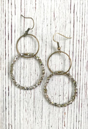 Double Crystal Hoop Earrings