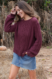 Cozy Cable Pullover - Ancho Chile