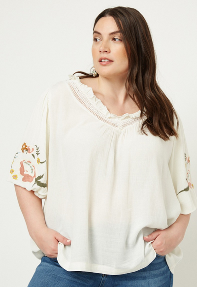 Monty Embroidered Puff Sleeve
