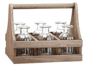 Wood Carrier w/ 6 Jars