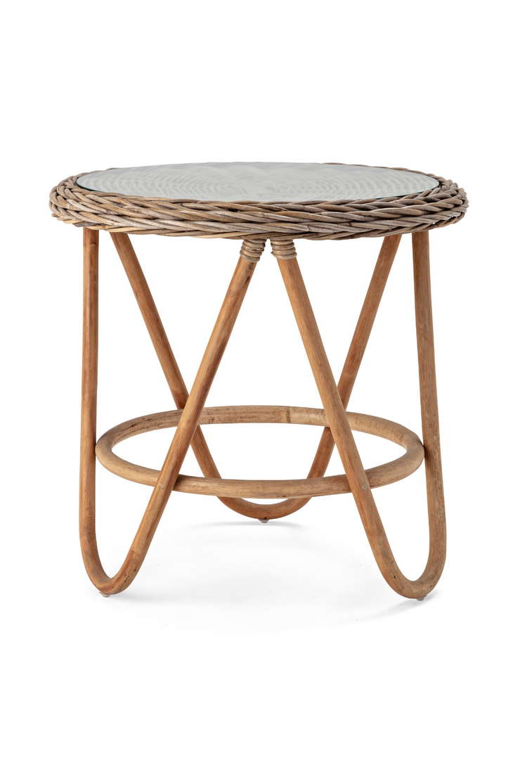 Lamine Glass Top Rattan Table
