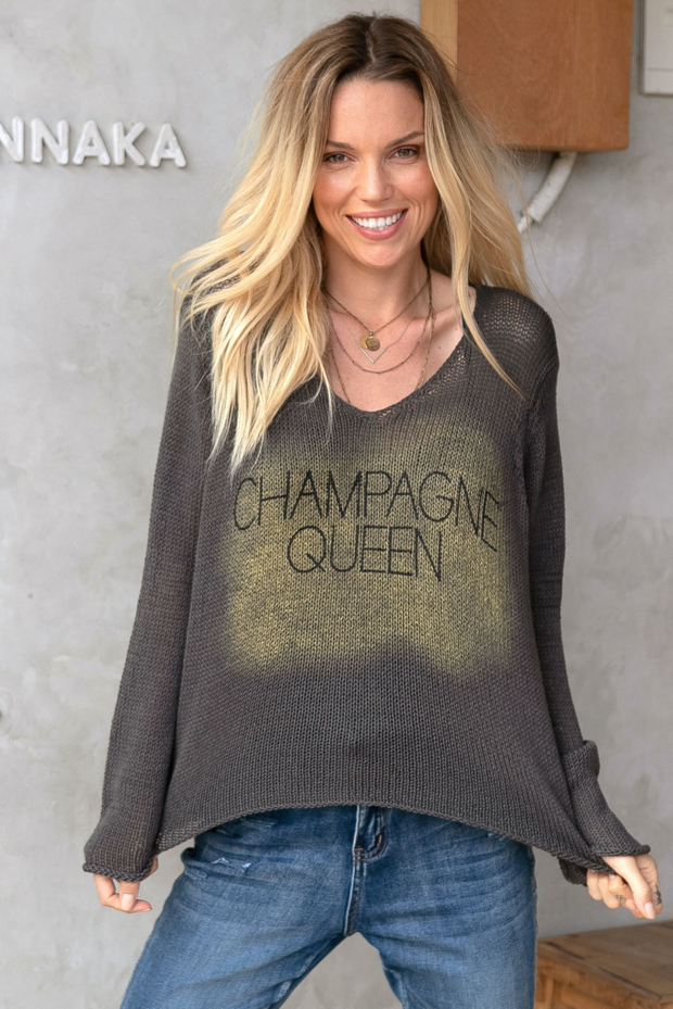 Champagne Queen V-Neck Sweater