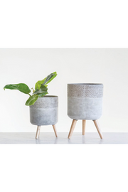 Cement Planter w/ Wood Legs
