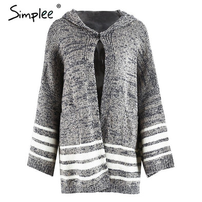 Hooded winter knitted cardigan