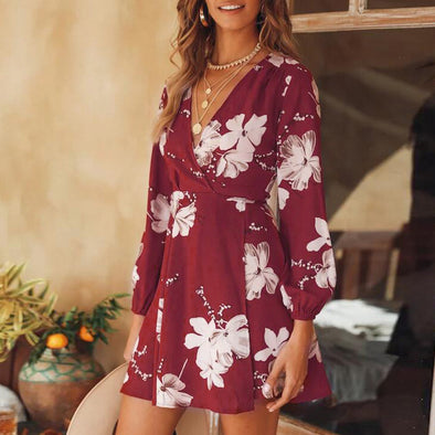 Maroon Floral Dress