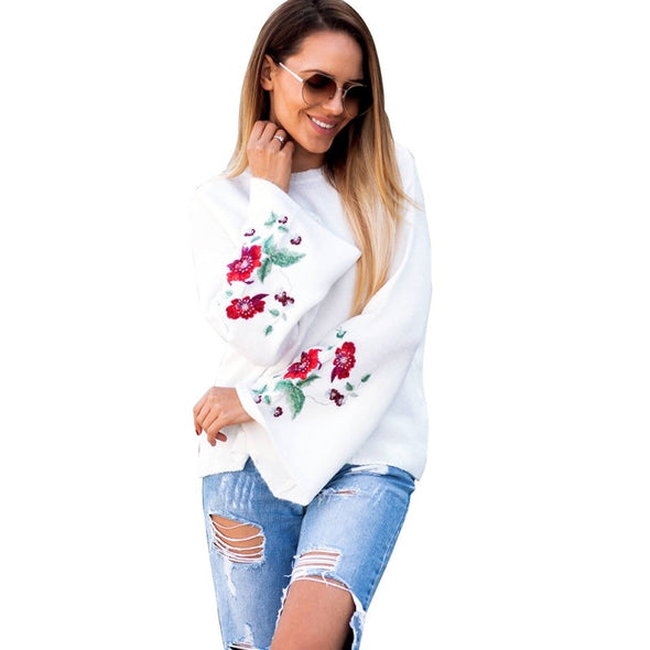 Printed Flower Round Neck Flared Sleeves Knitted Embroidered Sweater Blouse Long Sleeve T shirt