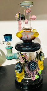 T'attoo USA Glass Water Pipe Honeycomb Design With Disc Perc - 10 Inches - 766 Grams - Assorted Colors [C15]