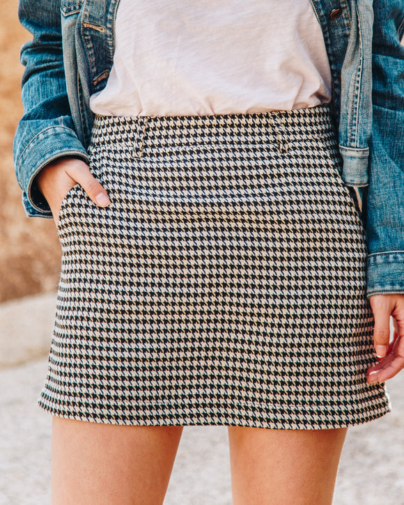 NYC Houndstooth Mini Skirt