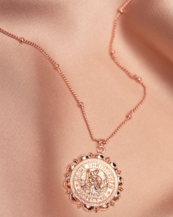 GIRLS CREW | Flower Saint Christopher Necklace