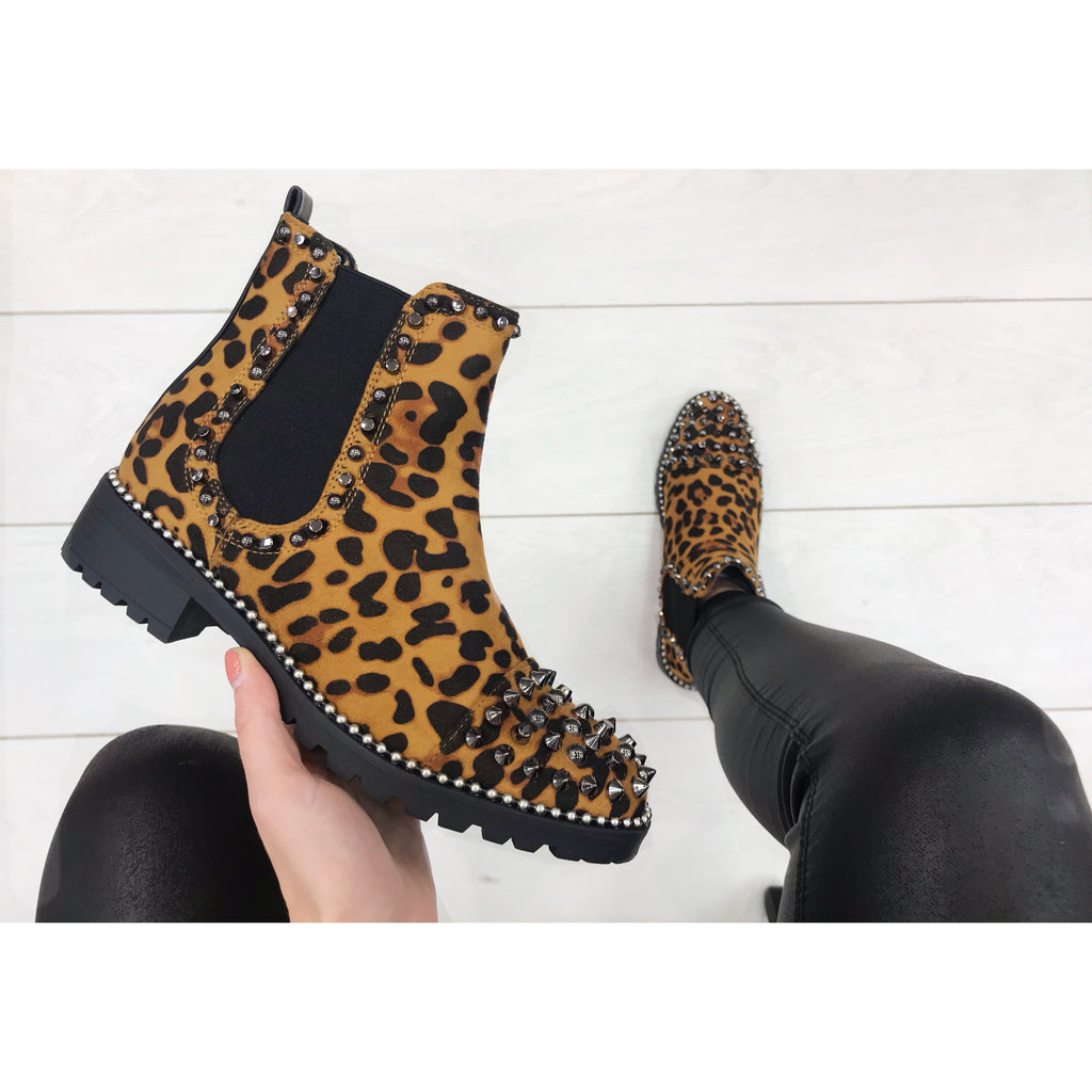 Leopard Studded Ankle Boot