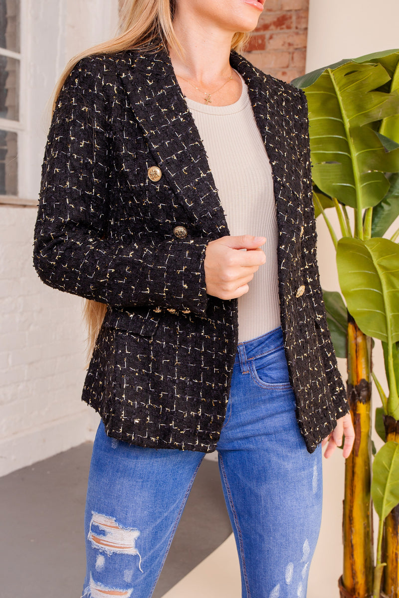 Black Patch Tweed Button Blazer